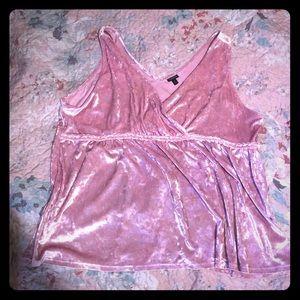 Pink crushed velvet tank